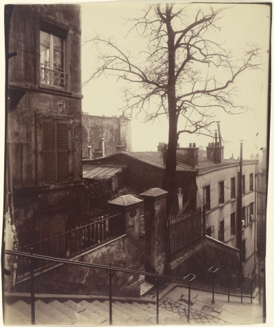 Eugène Atget (French, 1857 - 1927) [Staircase, Montmartre], 1921, Albumen silver print 21.8 x 17.8 cm (8 9/16 x 7 in.) The J. Paul Getty Museum, Los Angeles