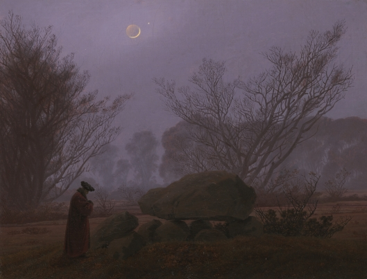Caspar David Friedrich (German, 1774 - 1840) A Walk at Dusk, about 1830 - 1835, Oil on canvas 33.3 x 43.7 cm (13 1/8 x 17 3/16 in.) The J. Paul Getty Museum, Los Angeles